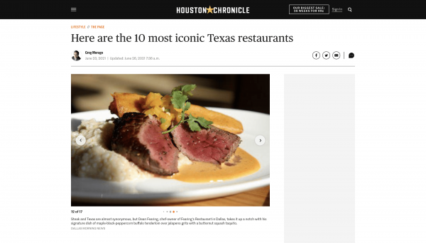 Houston Chronicle Features Fearing's